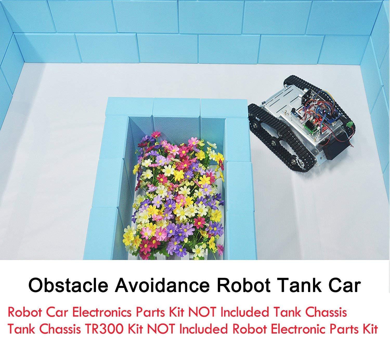 B0773GBVCZ KOOKYE Robot Tank Car Kit Tank Chassis Platform Metal Stainless Steel 2DW Motor 9V for Arduino/Raspberry Pi DIY (Silver Tank Chassis) 61O2FsEo00L