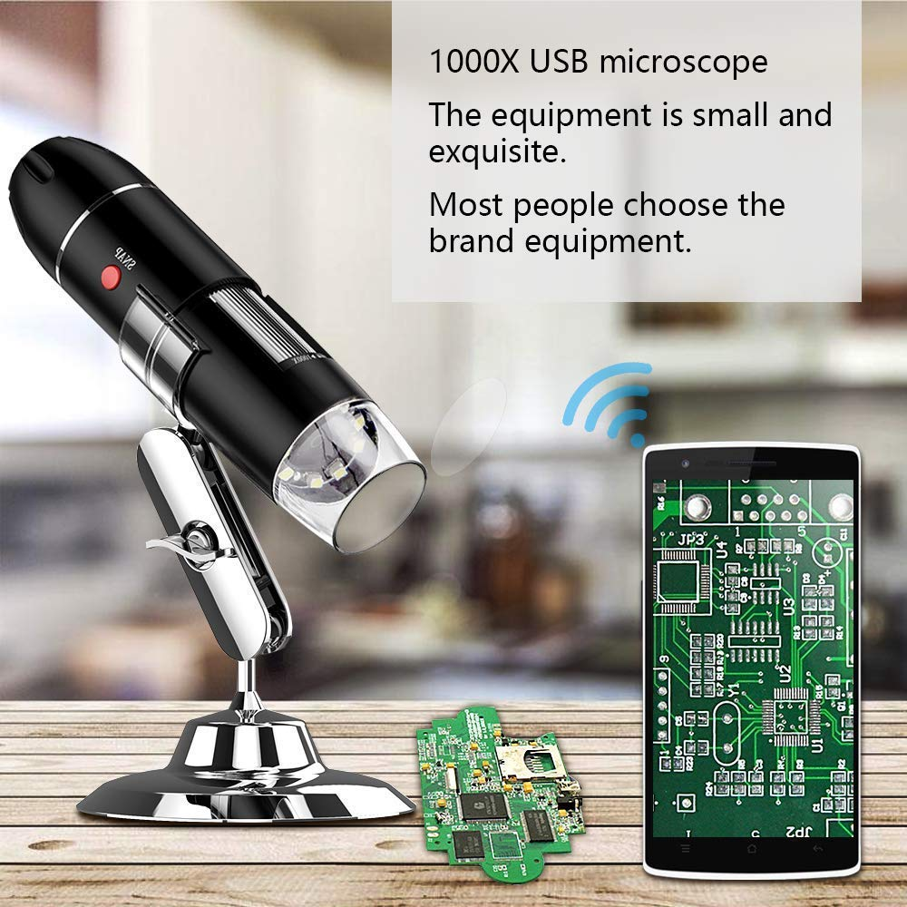 YKSINX USB Digital Microscope HD USB Magnification Endoscope with OTG Adapter and Metal Stand 40 to 1000 x High Resolution Camera Built-in 8pc led lights USB Microscope MAC