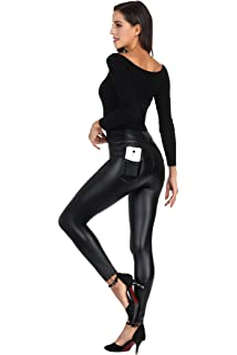 98b5583c575 MCEDAR Women s Faux Leather Leggings Plus Size Girls High Waisted Sexy  Skinny Pants