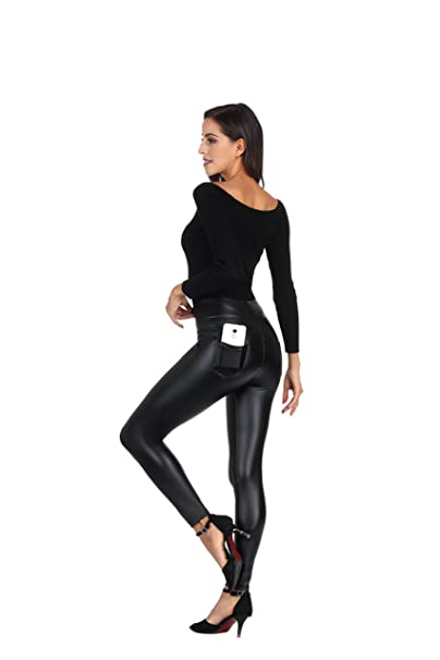 shoes for cheap reliable reputation popular design MCEDAR Women's Faux Leather Leggings Plus Size Girls High Waisted Sexy  Skinny Pants