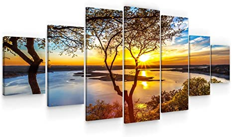Amazon Com Startonight Huge Canvas Wall Art Sunrise On The Lake Large Framed Set Of 7 40 X 95 Posters Prints