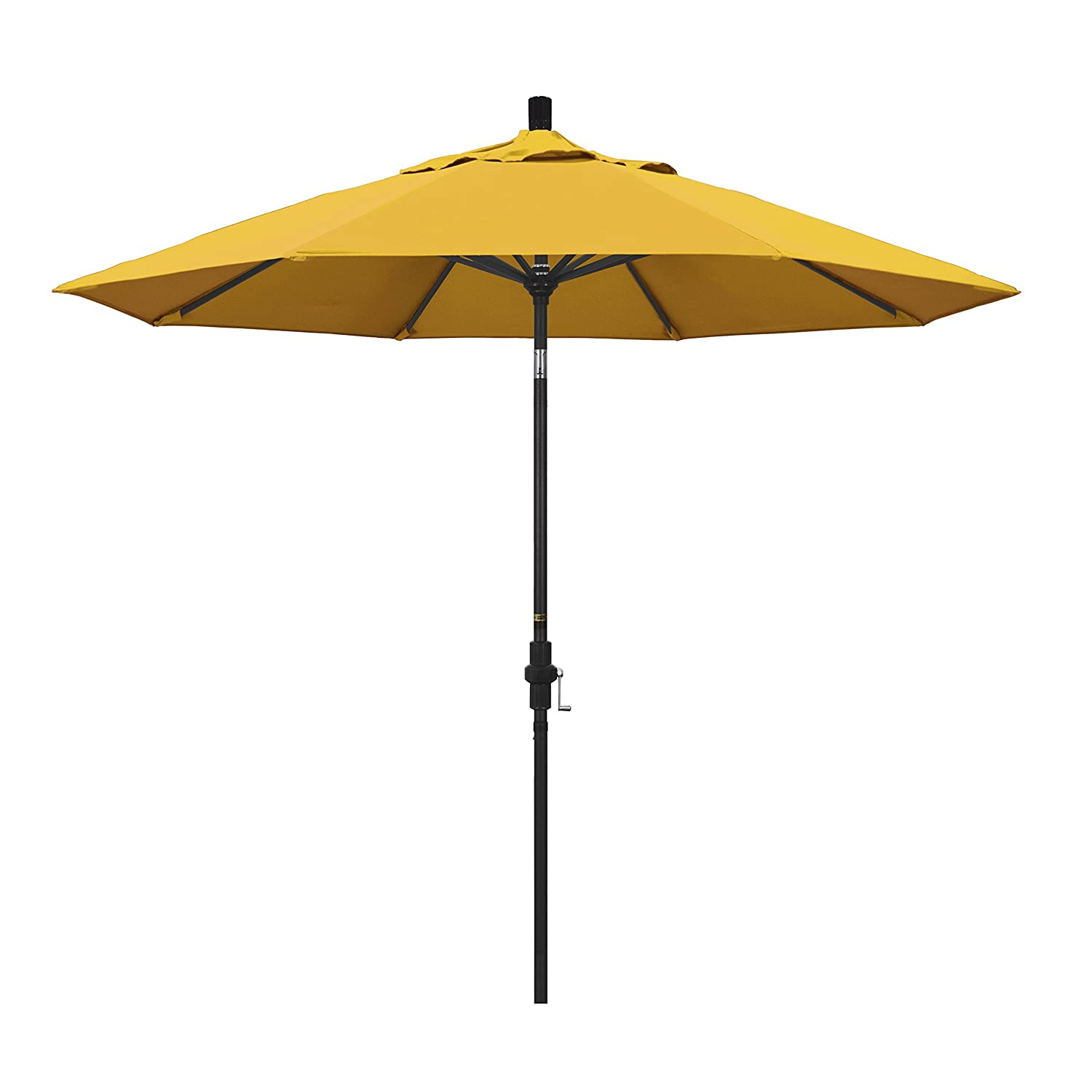 California Umbrella 9 Round Aluminum Market Umbrella, Crank Lift, Collar Tilt, Black Pole, Pacifica Yellow