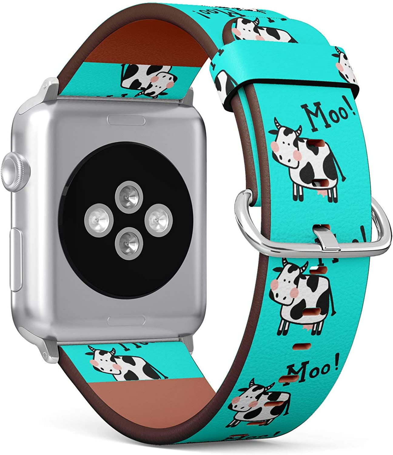 (Cute Milk Cow Moo Turquoise Background) Patterned Leather Wristband Strap for Apple Watch Series 4/3/2/1 gen,Replacement for iWatch 38mm / 40mm Bands