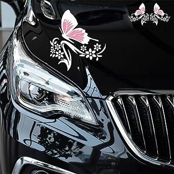BININBOX Universal 1 Set Car Auto Body Sticker Butterfly Flower Vine Pattern Self-Adhesive Side Truck Vinyl Graphics Decals Hood Decal White