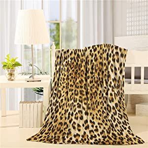 Plush Throw Blanket 40x50 inches Leopard Print Bed Blanket Soft Warm Blankets for All Seasons, Lightweight Travelling Camping Throw Size for Kids Adults, Natural Wildlife Safari Decorations Big Cat