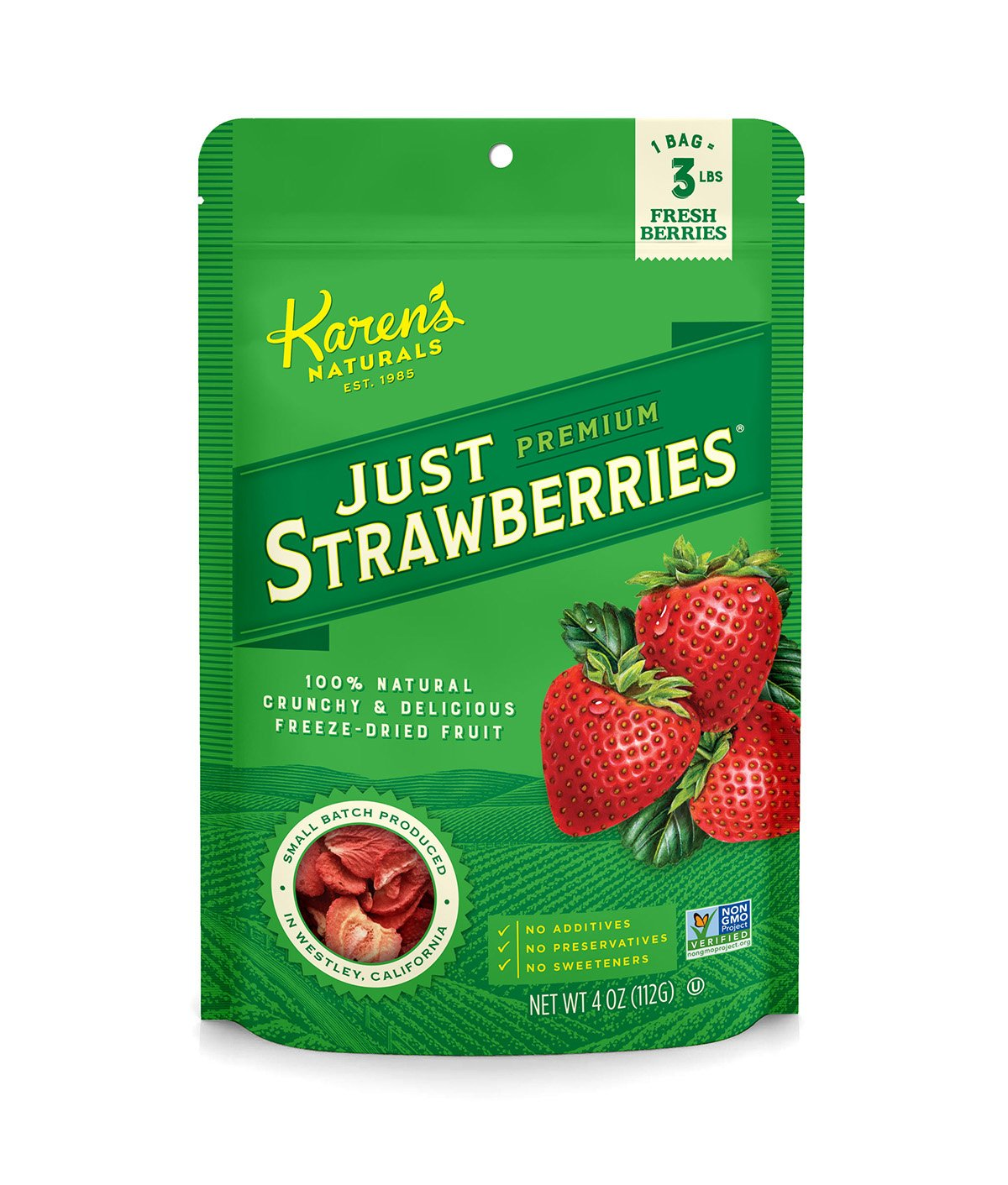 Karen's Naturals Just Strawberries, 4 Ounce Pouch, Freeze-Dried Strawberries, Non-GMO, No Additives, No Preservatives, No Sweeteners