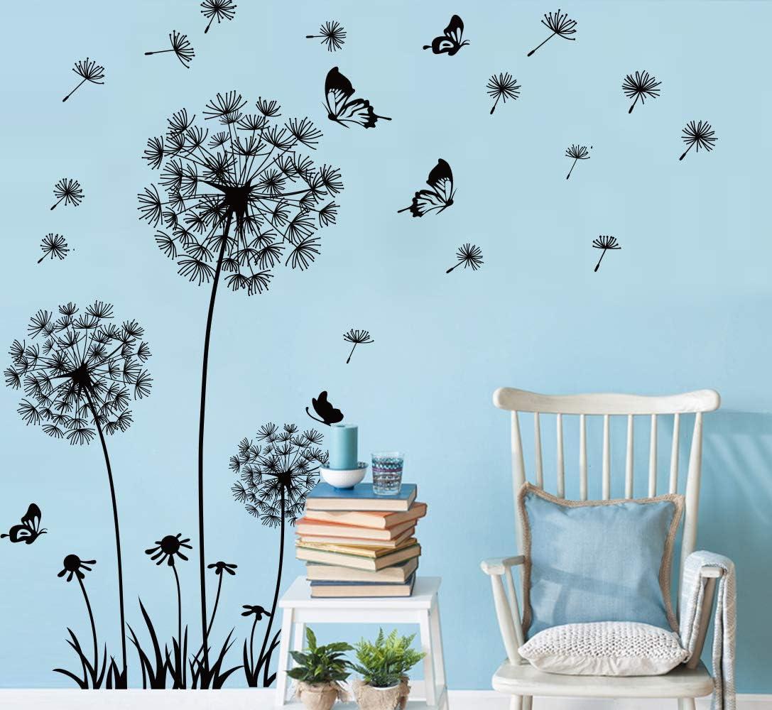 Runtoo Giant Dandelion Wall Decals Flying Flowers Butterflies Wall Stickers Plants Wall Art Living Room Bedroom Decor [Black]