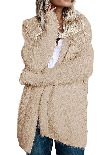 Suvotimo La Mujer Invierno Outwear Trinchera Abrigos con Capucha Casual Frente Abierto: Amazon.es: Ropa y accesorios