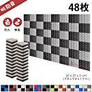 スーパーダッシュ 新しい48ピース 250 x 250 x 50 mm ピラミッド 吸音材 防音 吸音材質ポリウレタン SD1034 (黒とグレー)