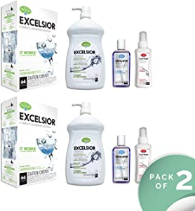EXCELSIOR HEDISH1LWMGK-U Complete Diswasher Cleaning and Deoderizing Solution (Pack of 2)