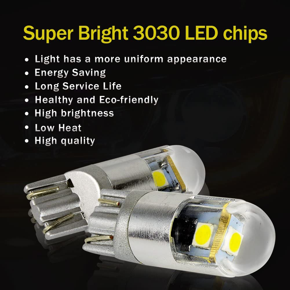 Safego 2x T10 W5W 194 24 SMD 4014 LED Lampadine Auto Car Lamp Light Bulb Replacement DC 12V 6000K