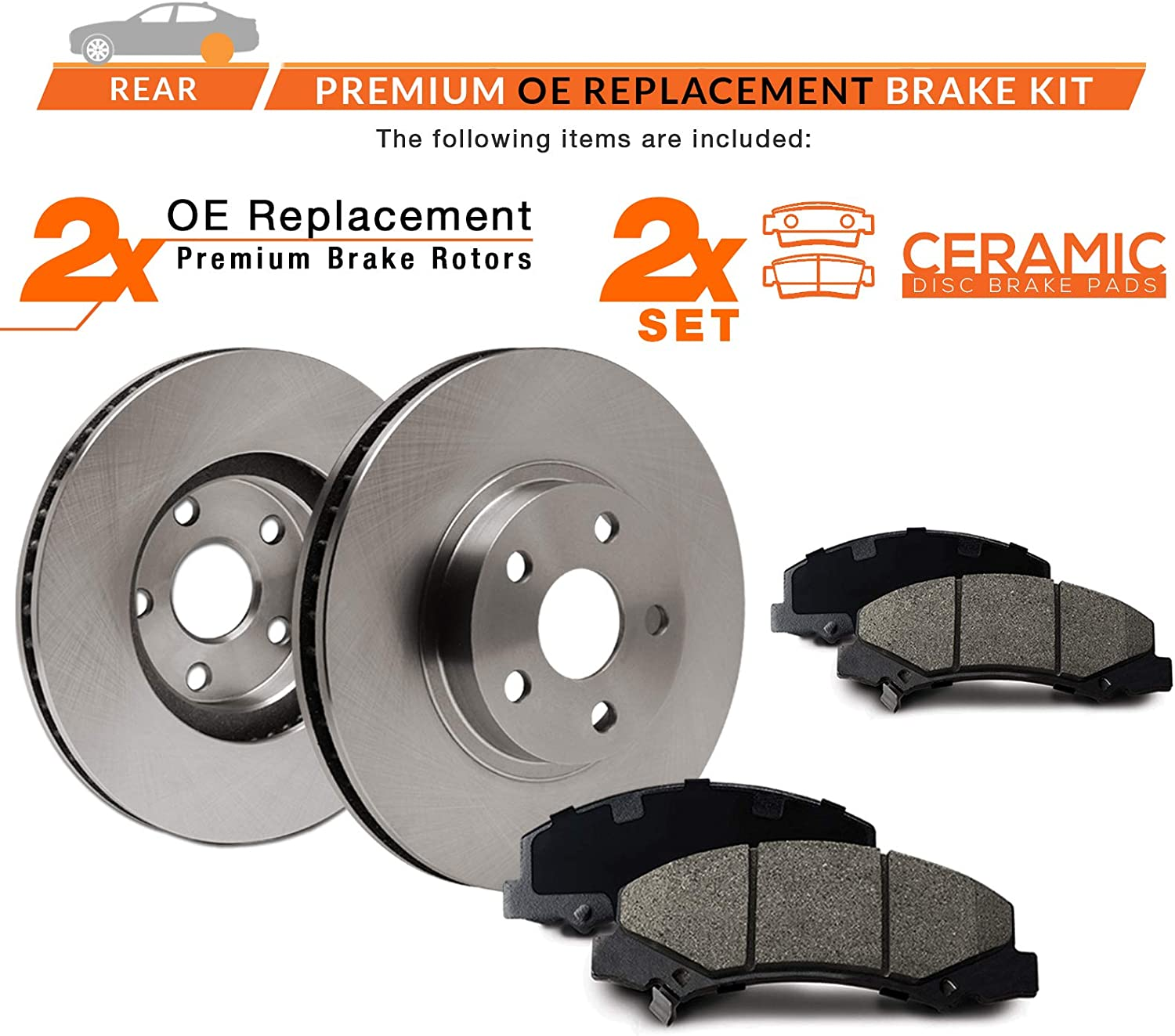 Rear Max Brakes Premium OE Rotors with Carbon Ceramic Pads KT077242