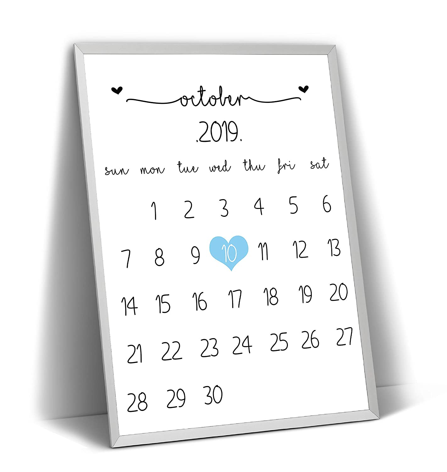 October Frame Not Included Pregnancy Announcement Calendar Print Baby Reveal Due Date Expectancy Customised Gift Girl Boy