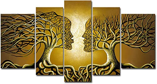 Wieco Art Brown Human Tree Abstract Oil Paintings on Canvas Wall Art Ready to Hang for Living Room Bedroom Home Decorations Modern 5 Piece 100 Hand Painted Stretched and Framed Contemporary Artwork