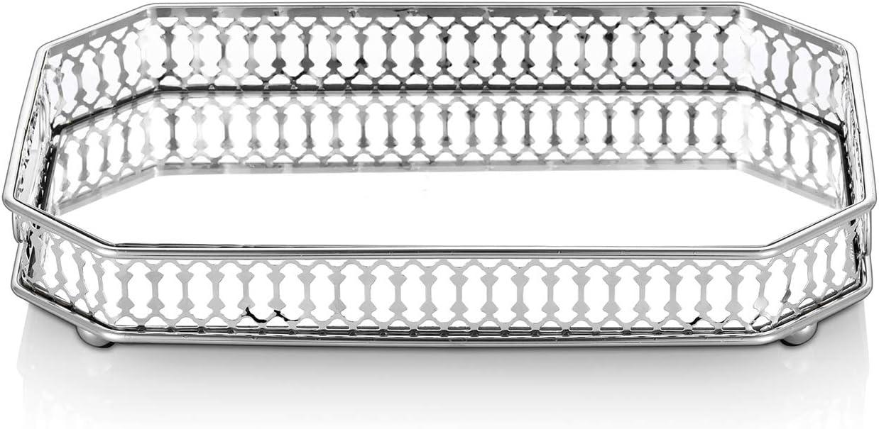 Nuptio Silver Mirrored Vanity Makeup Tray,11.4
