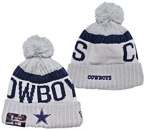 Amazon.com   Dallas Cowboys New Era White 2017 Sport Knit Beanie Hat ... a8bb3e0c593