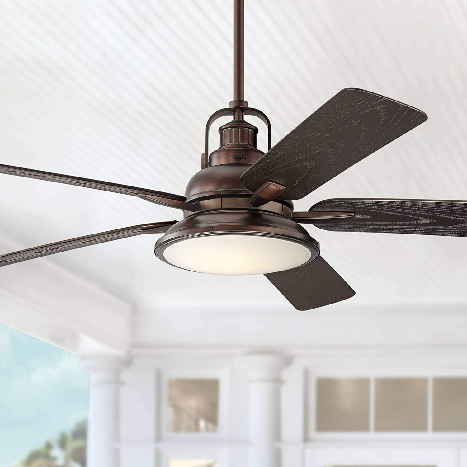 "60"" Wind and Sea Industrial Outdoor Ceiling Fan with Light LED Dimmable Remote Control Oil Brushed Bronze Wet Rated for Patio Porch - Casa Vieja"