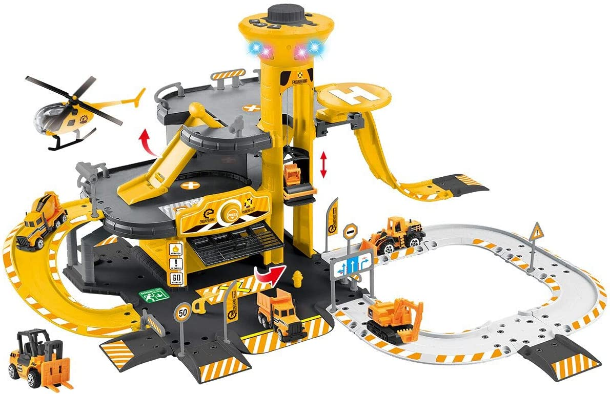 NEWRICE 3-Floors City Engineering Station Parking Lot Toy Set, with Lights & Sounds,1Helicopter+6pcs Metal Die-Toy cast Cars,Track,Garage,Electric Lift.for 3-6 Year Boys & Girls/Kids: Toys & Games