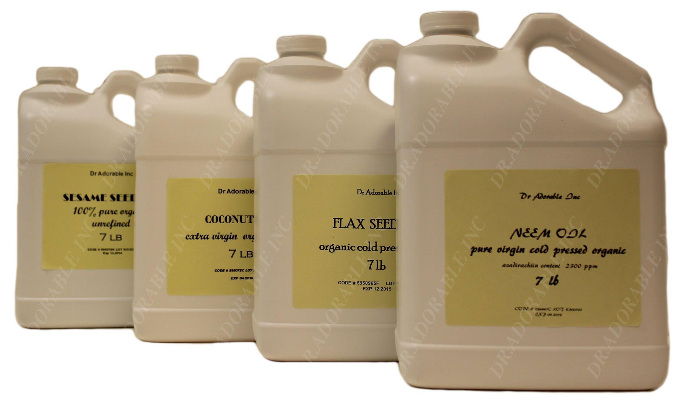Peanut Oil Unrefined Organic 100 % Pure 128 Oz / 7 Lb / One Gallon by Dr Adorable