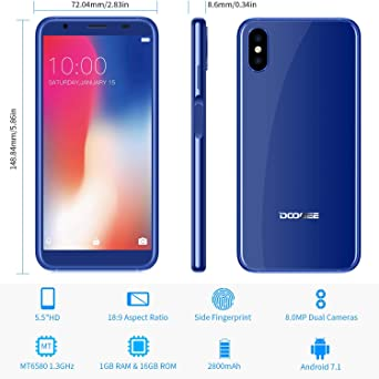 Mobile Phones, DOOGEE X55 3G Unlocked Smartphones, 7 0 Android Phone with  5 5 Inch HD IPS Screen - 16GB ROM - 8 0MP+8 0MP Dual Camera - Fingerprint -