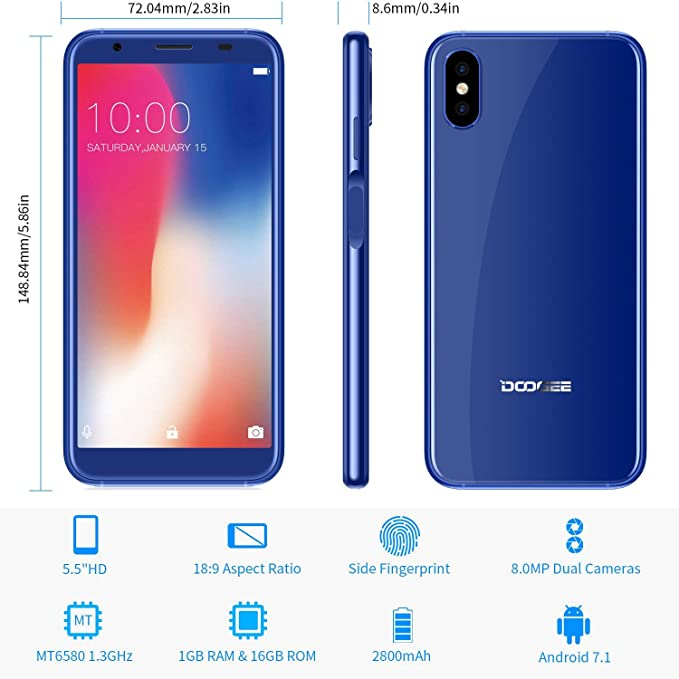 DOOGEE X55 Telefonos Moviles Libres Baratos, 3G Dual SIM Móviles y Smartphones Libres 1GB RAM 16GB ROM Android 7.0, 5.5 Pulgadas IPS18:9, Cámara Dual de ...