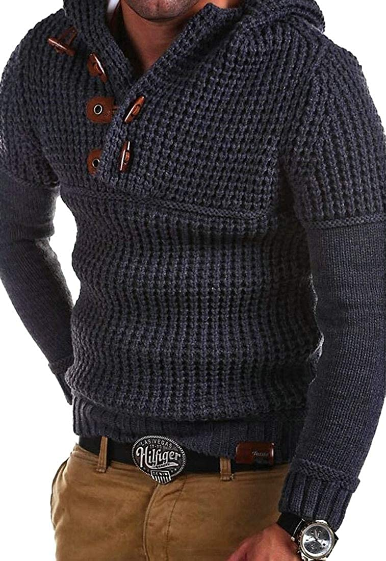 Esast Men Autumn Winter Hooded Knitted Pullover Big Tall Sweaters