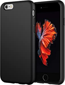 JETech Silicone Case Compatible withiPhone 6s/6 4.7 Inch, Silky-Soft Touch Full-Body Protective Case, Shockproof Cover with Microfiber Lining, Black