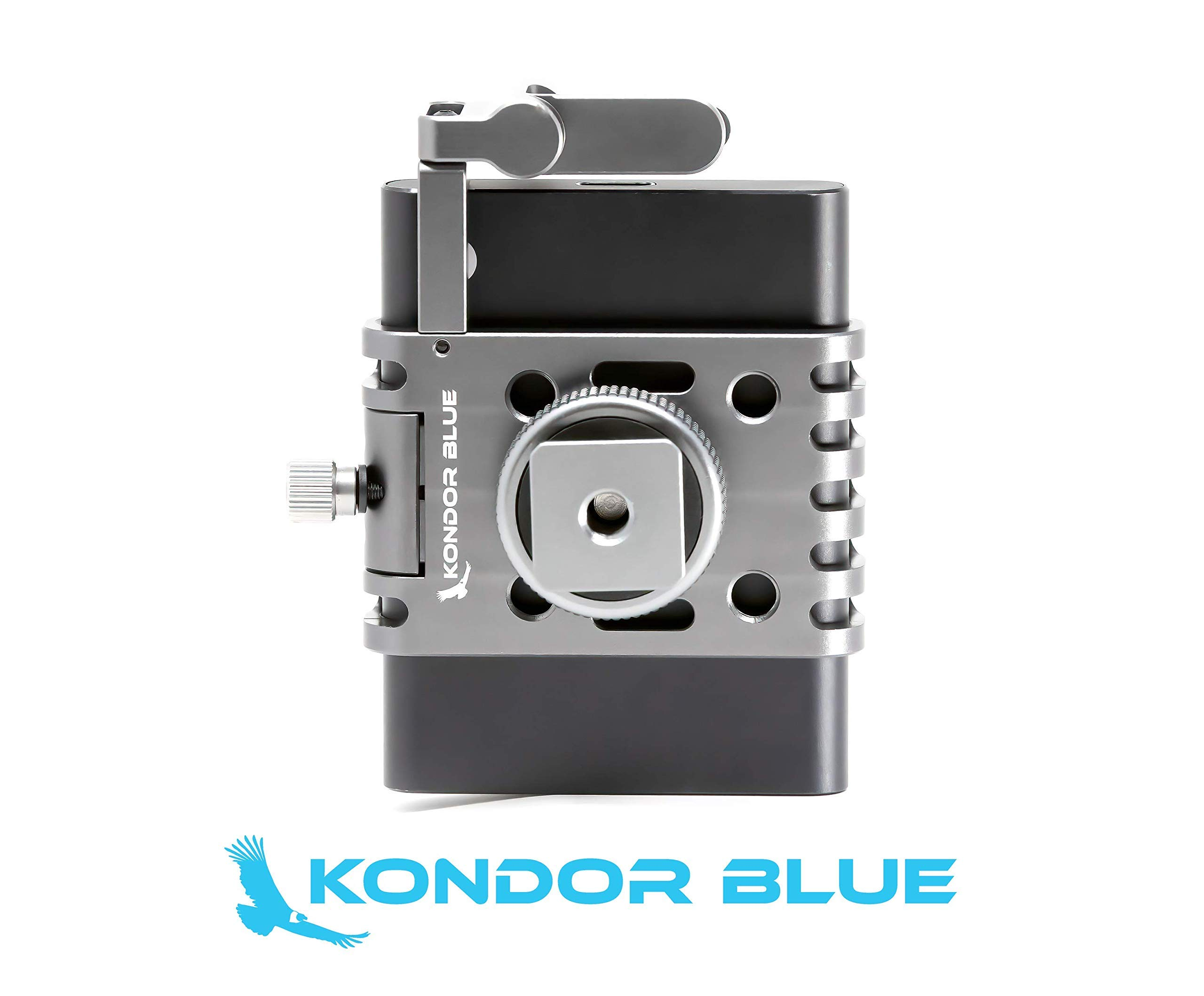 KONDOR BLUE T5 SSD Holder w/Cold Shoe Mount for Z CAM S6 F6 F8 BMPCC4K/6K. Compatible with Any cage or hot Shoe. Made for Samsung T5 Media Drives commonly Used with Kondor Blue USB C Cable.