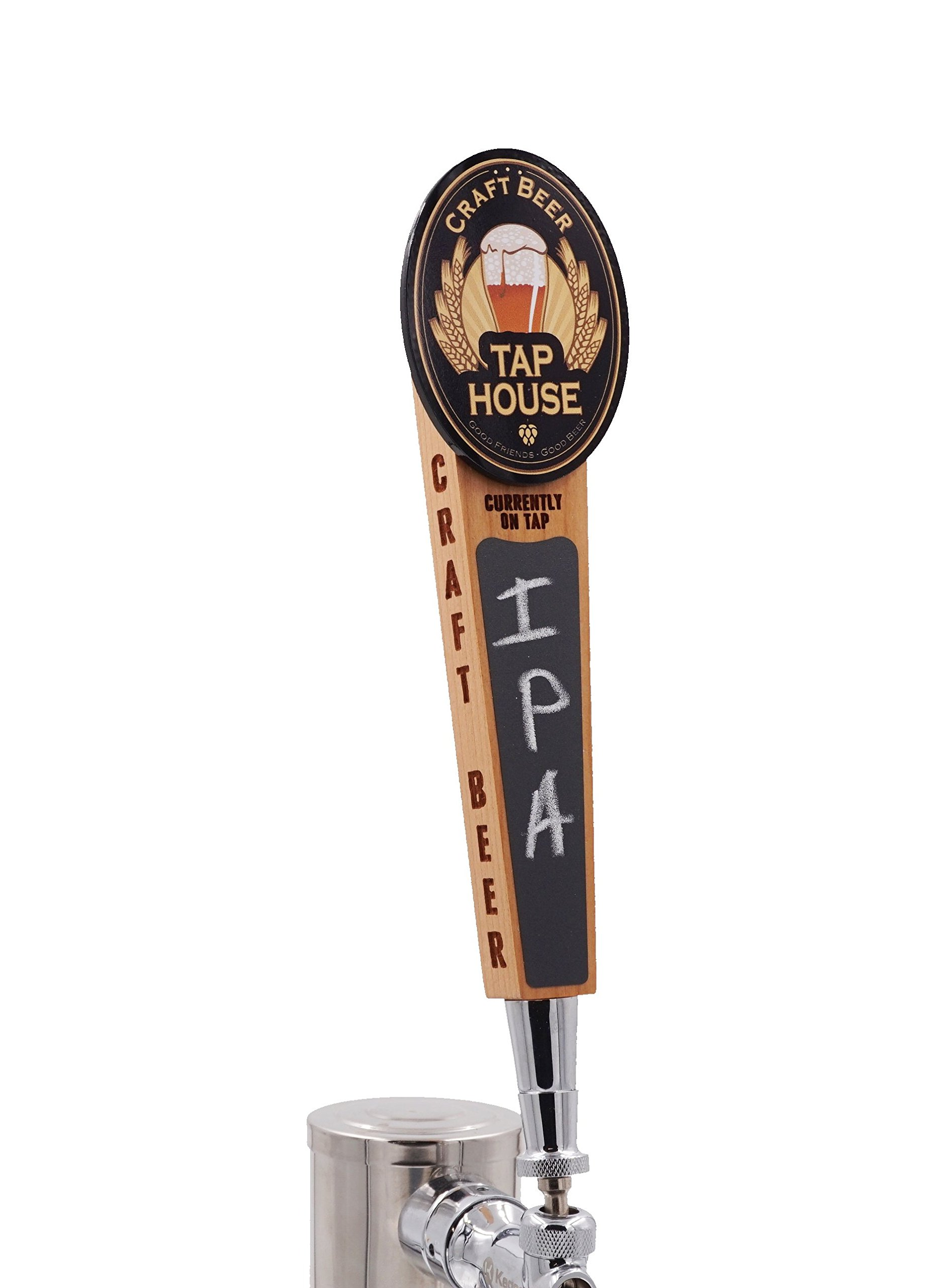 Beer Tap Handle with Chalkboard-Tap House Edition. Cool wood tap with laser engraved sides and full color logo.