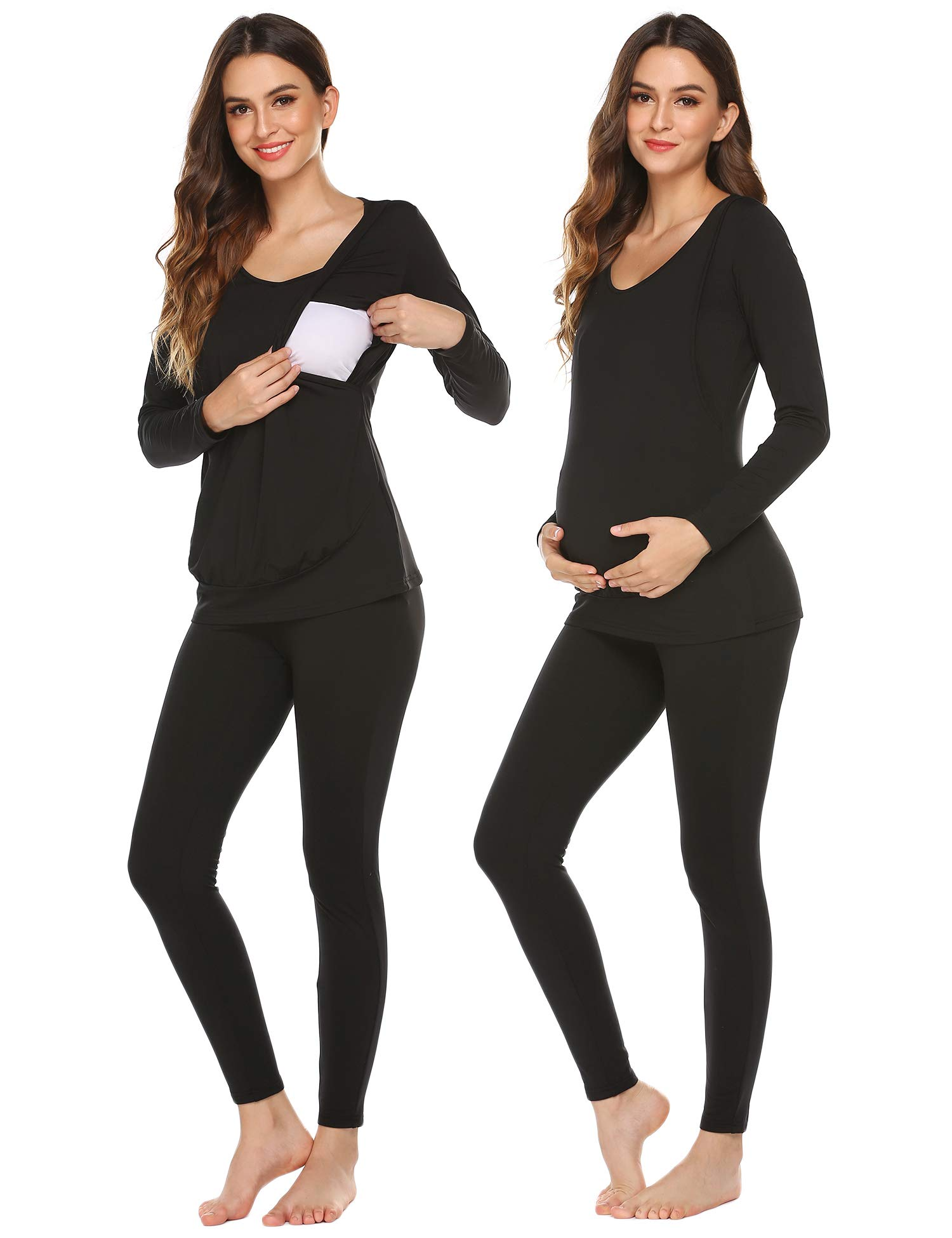 Ekouaer Maternity & Nursing Thermal Underwear Set Solid Color Pajamas Maternity Clothes for Women (Black, Large) by Ekouaer