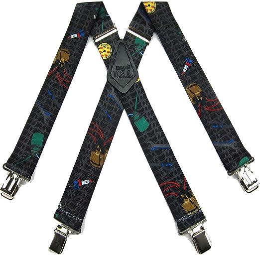 Gray Black Red Blue Mens Contractors Tradesman Suspender Made in USA