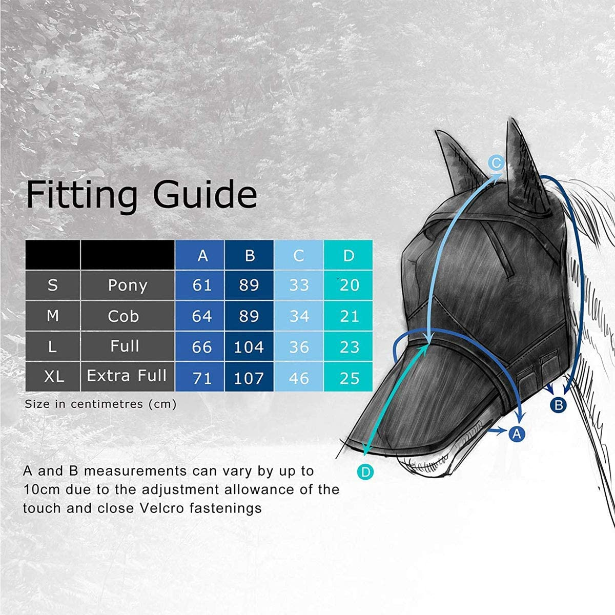Harrison Howard CareMaster Horse Fly Mask Standard with Ears Fly Mask UV Protection for Horse Silver//Blue Retro