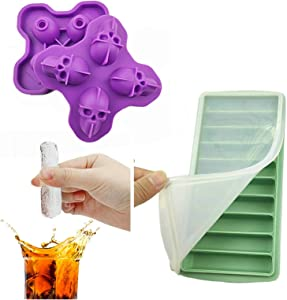 Arestle 2 pack Silicone Water Bottle Ice Cube Trays with Lid, 10 Narrow Sticks, 4 Skulls Ice Popsicle Molds for Whisky, Wine, Cocktails (Aqua Stick+Purple Skull)