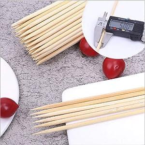 7 Inch Bamboo Skewers,5mm diameter Tip head Natural Bamboo for Sticks BBQ Caramel Candy Apple Sticks for Corn Dog,Corn Cob,Cookie,Lollipop,Kabob,Gril.(200pcs)
