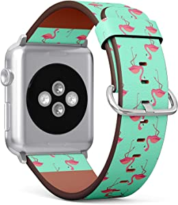 Compatible with Small Apple Watch 38mm & 40mm (Series 5, 4, 3, 2, 1) Leather Watch Wrist Band Strap Bracelet with Stainless Steel Clasp and Adapters (Pink Flamingos)