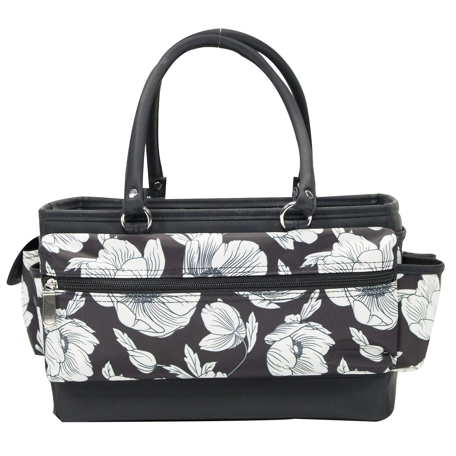 Storage Craft Bag Organizer for Crafts Supplies Storage Organization with Handles for Travel Art Everything Mary White Flower Deluxe Store and Tote Sewing Paper Canvas Desk