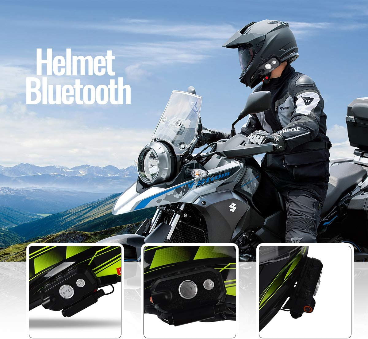 HYS Helmet Bluetooth Stereophonic Sound Headset Motorcycle Communication System Wireless Waterproof Headphone with Noise Cancellation for Motorbike Skiing