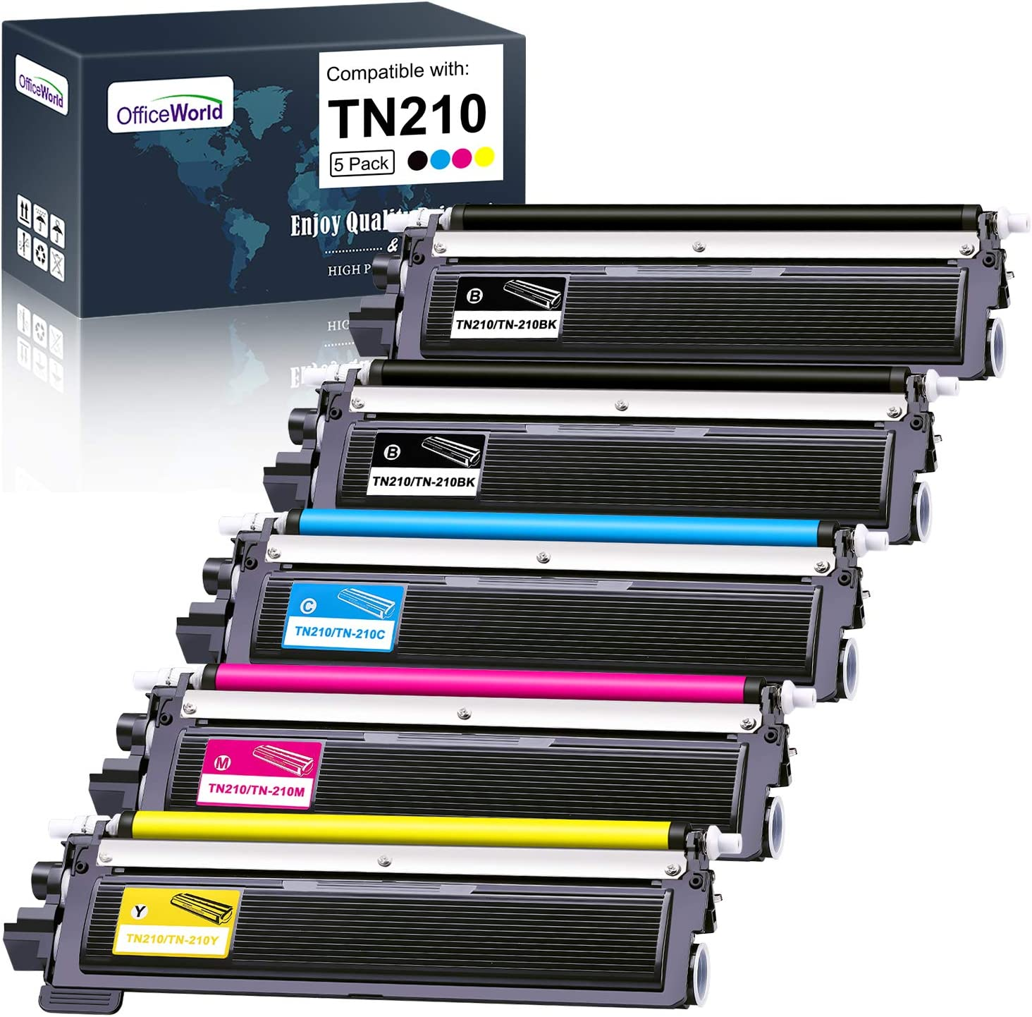 OfficeWorld Compatible Toner Cartridge Replacement for Brother TN210 TN-210 for Brother HL-3040CN HL-3070CW HL-3075CW MFC-9010CN MFC-9320CW MFC-9325CW DCP-9010CN (Black,Cyan,Magenta,Yellow, 5-Pack)