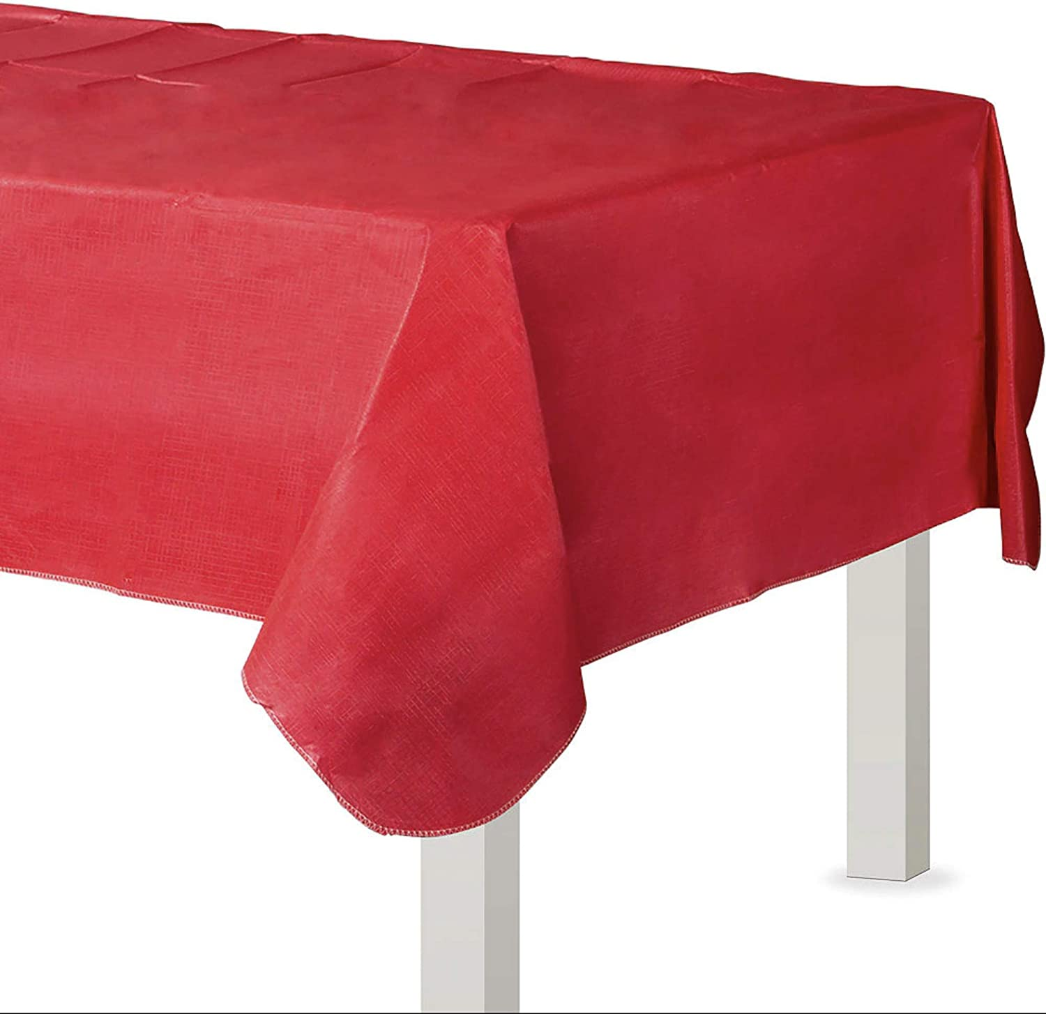 "Amscan 579590.4 Flannel-Backed Oblong Table Cover | Apple Red | 52"" x 90"" 