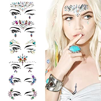 Amazon.com  6 Sets Face Jewels Stickers Tattoo Bady Eyes Decoration Mermaid  Individuality Make-up Rhinestone Sticker for Halloween Party 97b9a13a2e93