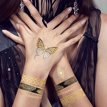 tafly Dorado Mariposa tatuajes pulseras DIY Cuerpo de flash ...