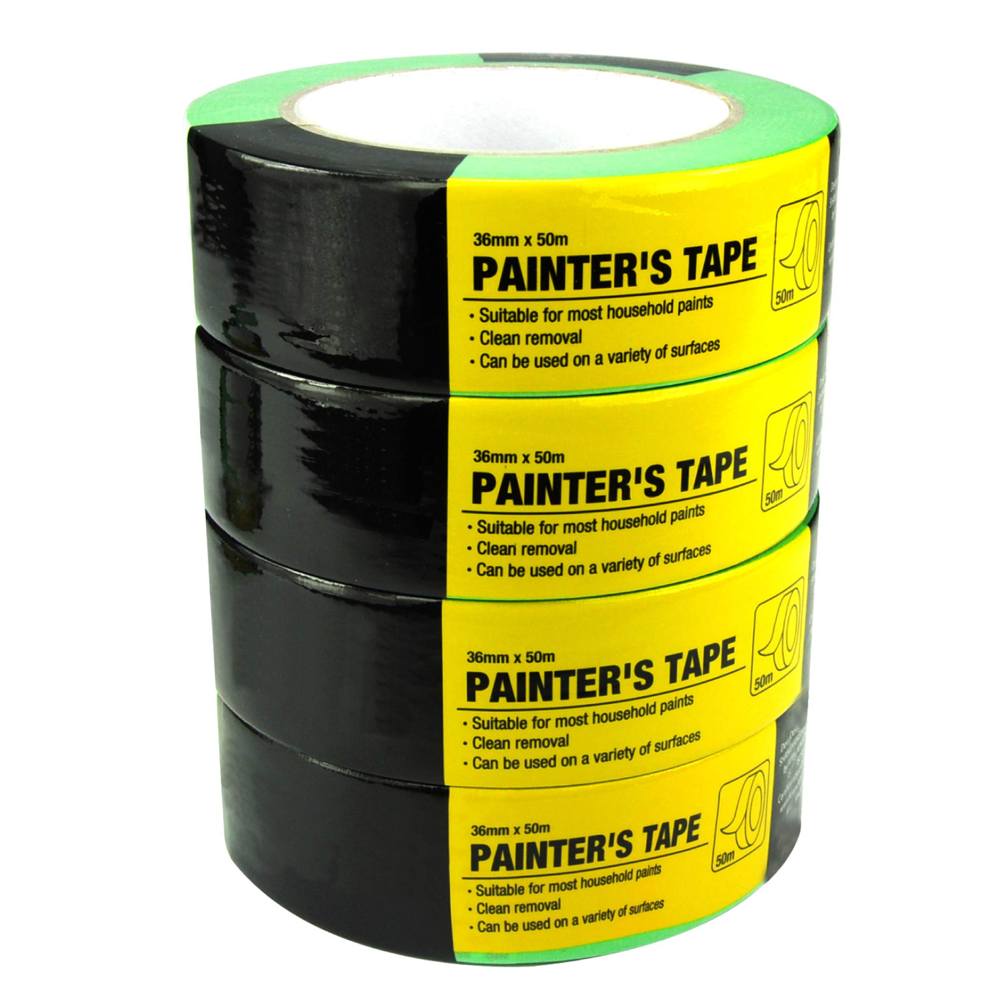 4 Piece Painters Tape,Paint Roller,Masking Tape,Tapes,1.41-Inch by 54.6 Yards(36mm x 50m)