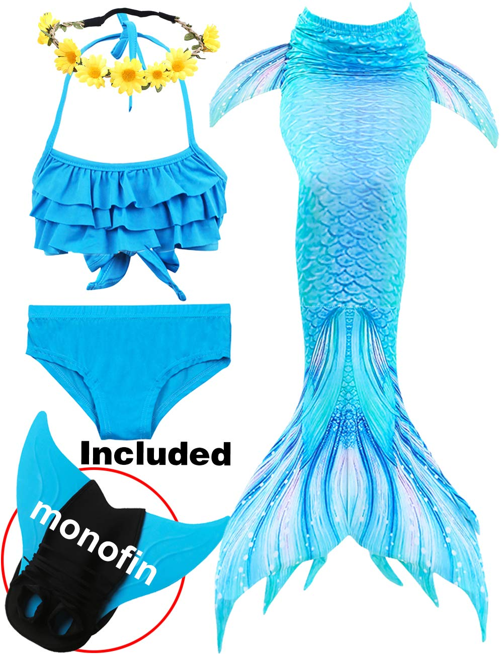 2019 3 Pcs Mermaid Tails for Swimming for Girls Can Add Monofin, Bikini Swimsuit Set Mermaid Tails Birthday Gifts for Kids