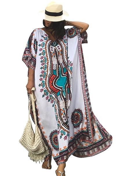 a86d5b3cd6f28 Women's White Ethnic Print Kaftan Maxi Dress Summer Beach Dress: Amazon.ca:  Clothing & Accessories