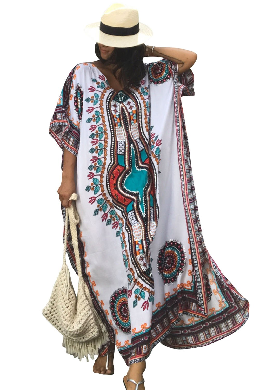 Women's White Ethnic Print Kaftan Maxi Dress Summer Beach Dress, White, One Size