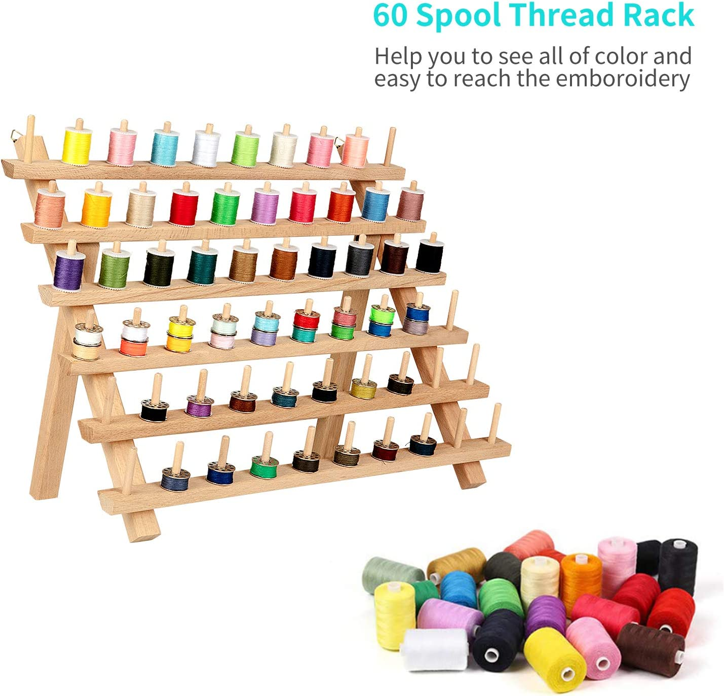 60 PCS Wooden Thread Spool Holder Thread Organizer and Bobbin Holder for Saving Space QUARKACE Thread Rack Wall Hanging or Stand on Table
