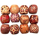 Painted Wooden Beads, Migavan 100 PCS 10mm Large Hole Painted Wooden Beads for DIY Making Bracelet Necklace Jewelry Hair Macrame Craft Project Random Style