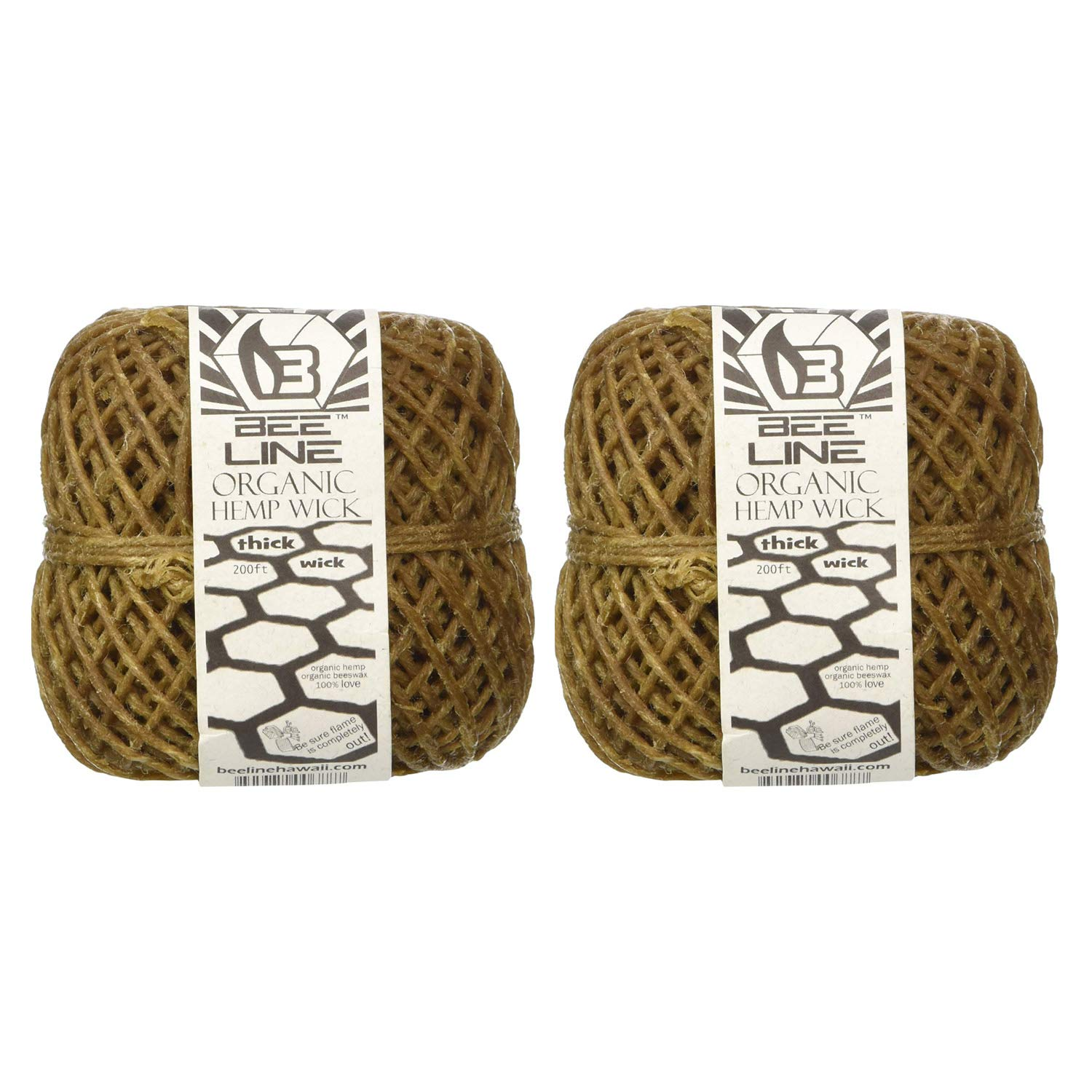Bee Line 100% Organic Hemp Wick 200 FT Spool Thick Gauge 2 Pack by Bee Line