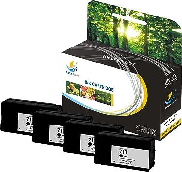 Catch suministros 711 711 x l – Alto rendimiento cartucho de tinta compatible con HP DesignJet T120 T520 impresoras |black CZ133 A, Cian CZ130 A, Magenta CZ131 A, amarillo cz132 a|, color
