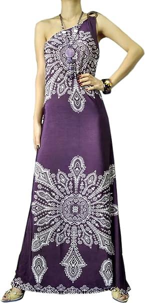 One Shoulder Tribal Print Maxi Dress Sundress Junior and Junior Plus Size